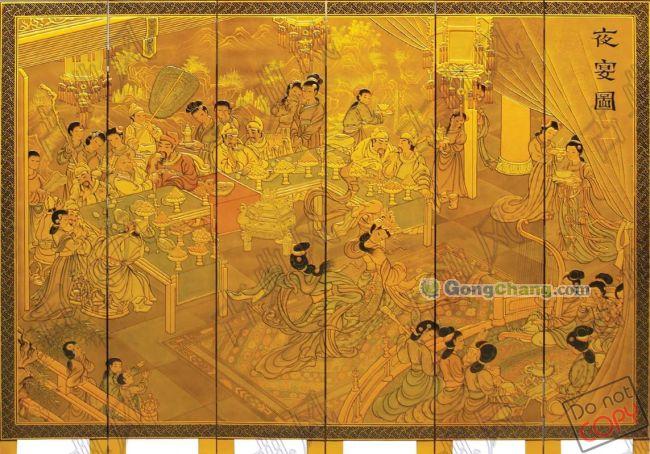 隔断 玄关 金箔 夜宴图(喷金6片)    【产品工艺】纯手绘漆画屏风,堆